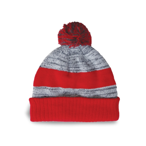 Fine Knit Melange Tuque with Center Stripe
