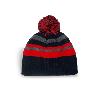 Fine Knit Striped Beanie with Pom Pom