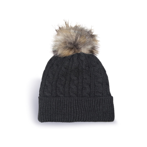 Cable Knit Tuque with Cuff and Faux Fur Pom Pom